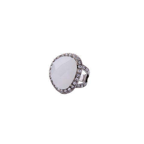 White Crystal European Statement Ring