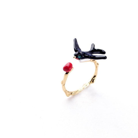FLYING BIRDIE FREEDOM ENAMEL RING - SWANL