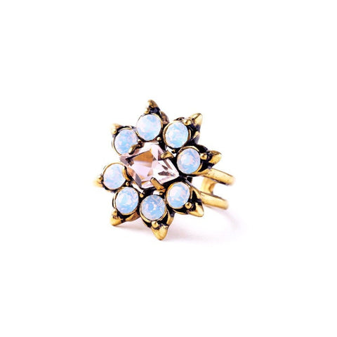 NEW YORK MIXED CHARM ADJUSTABLE STATEMENT RING - SWANL