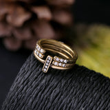 SERINA GOLD PLATED VINTAGE 3 RINGS SET - SWANL