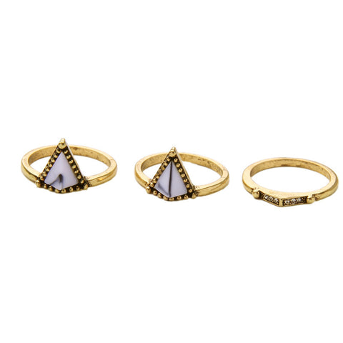 3 Pcs Geometric Triangle Women Stone Ring