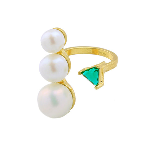 Triple Pearl Statement Ring