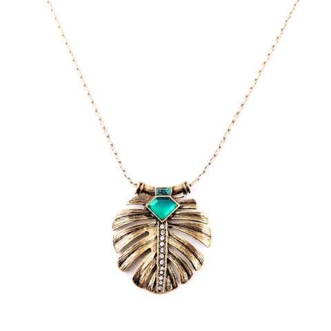 SIGNATURE LEAF INLAY EMERALD PENDANT LEAF NECKLACE - SWANL
