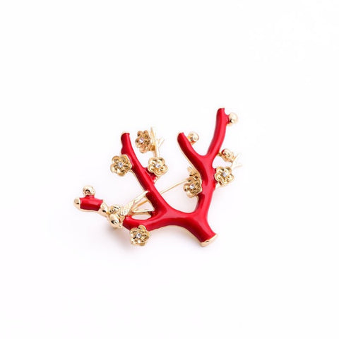 RED BRANCH ENAMEL BROOCHES - SWANL
