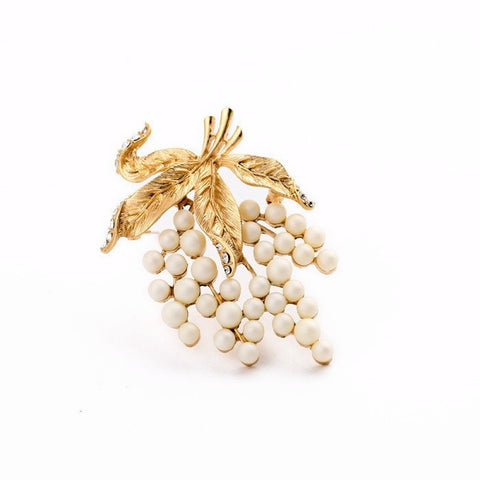 GOLD LEAF GRAPES BROOCH - SWANL