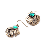 NOBEL ELEGANCE EMERALD LEAF DROP EARRINGS - SWANL