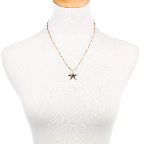 Starfish Pearl Crystal Pendant Necklace