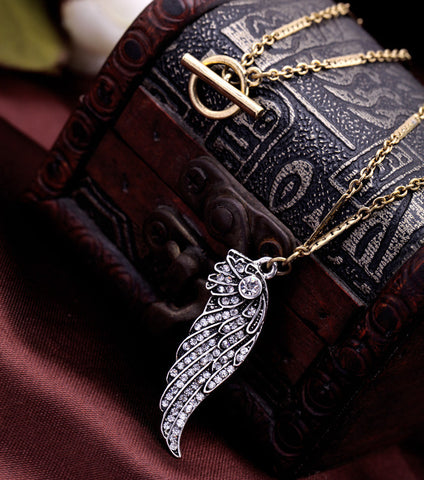 Women Wings Inlay Rhinestone Pendant Necklace | SWANL