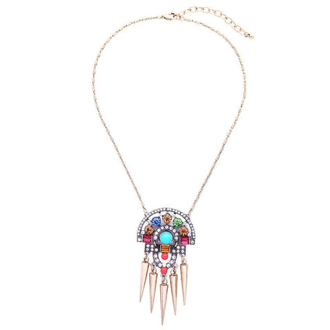 Ellie Colorful Crystal Hollowed Pendant Necklace | SWANL