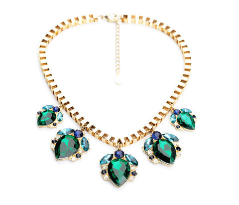 Shiny Green Water Drop Pendant Necklace | SWANL