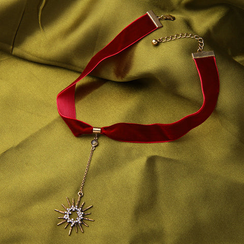 Star Pendant Red Ribbon Choker