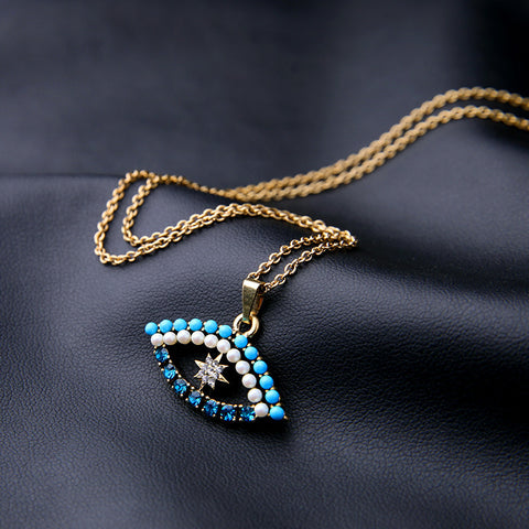 Star Blue Eye Pendant Necklace | SWANL