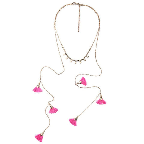 FEATHERLITE PINK LAYER NECKLACE - SWANL