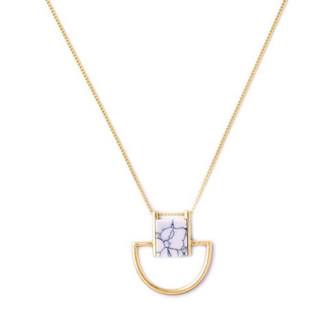 DRUBAR MARBLE PENDANT NECKLACE - SWANL