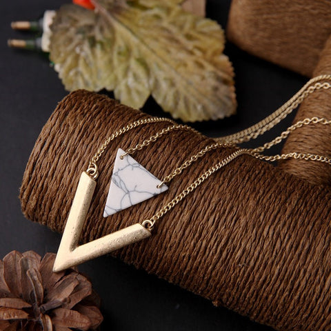 MARBLE ARROW PENDANT NECKLACE - SWANL