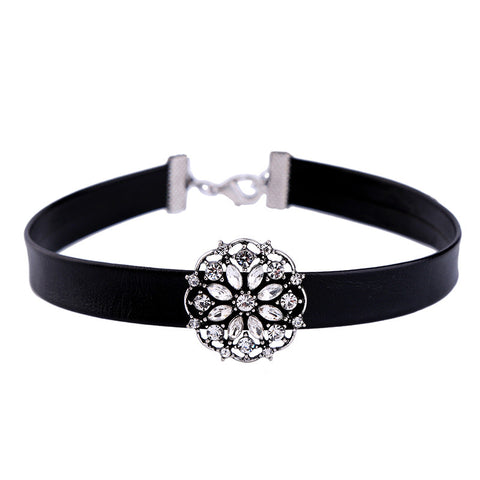 Blight Crystal Flower Choker Necklace | SWANL