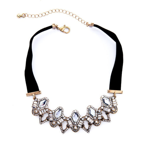 Black Velvet Chain Geometric Crystal Choker Necklace | SWANL