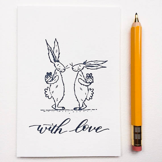 Letterpress Gift Card - With Love Bunnies
