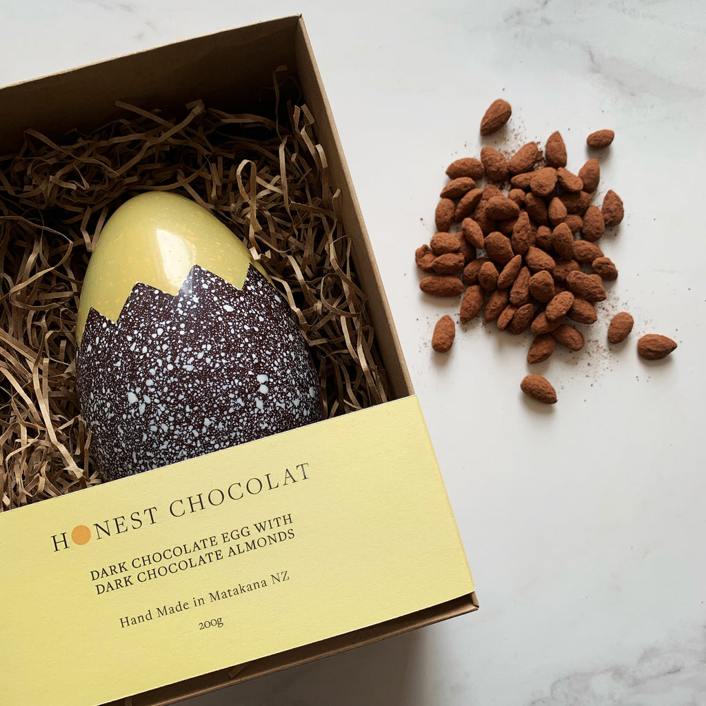 'Cracked' Dark Chocolate Egg with Dark Chocolate Almonds