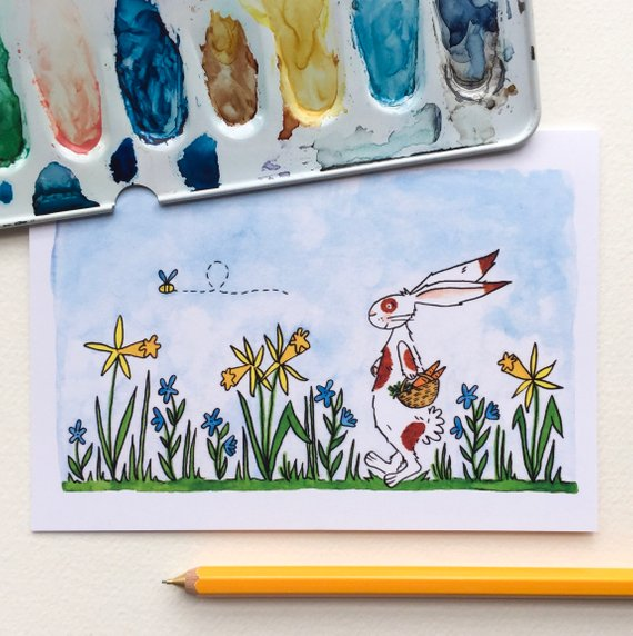 Watercolour Gift Card - Spring Bunny