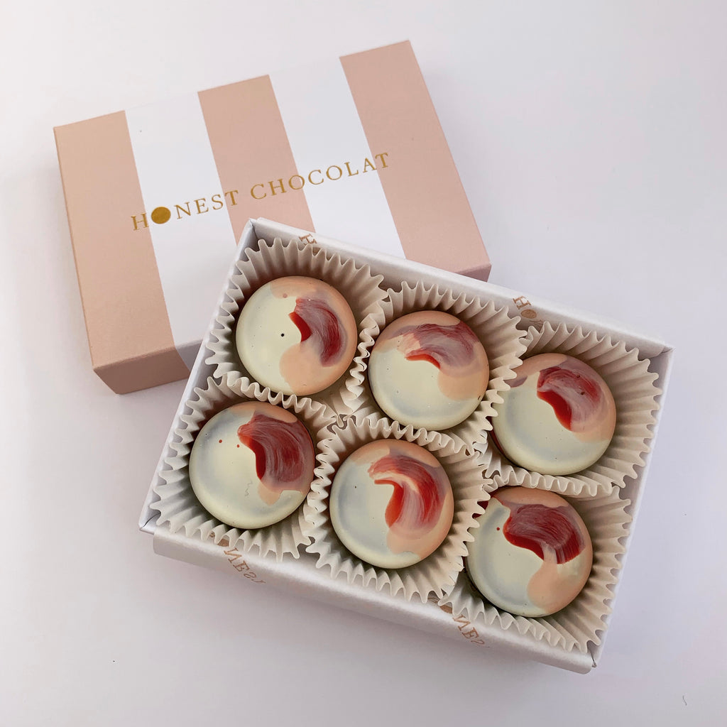 Rhubarb and Custard Chocolate Bonbons