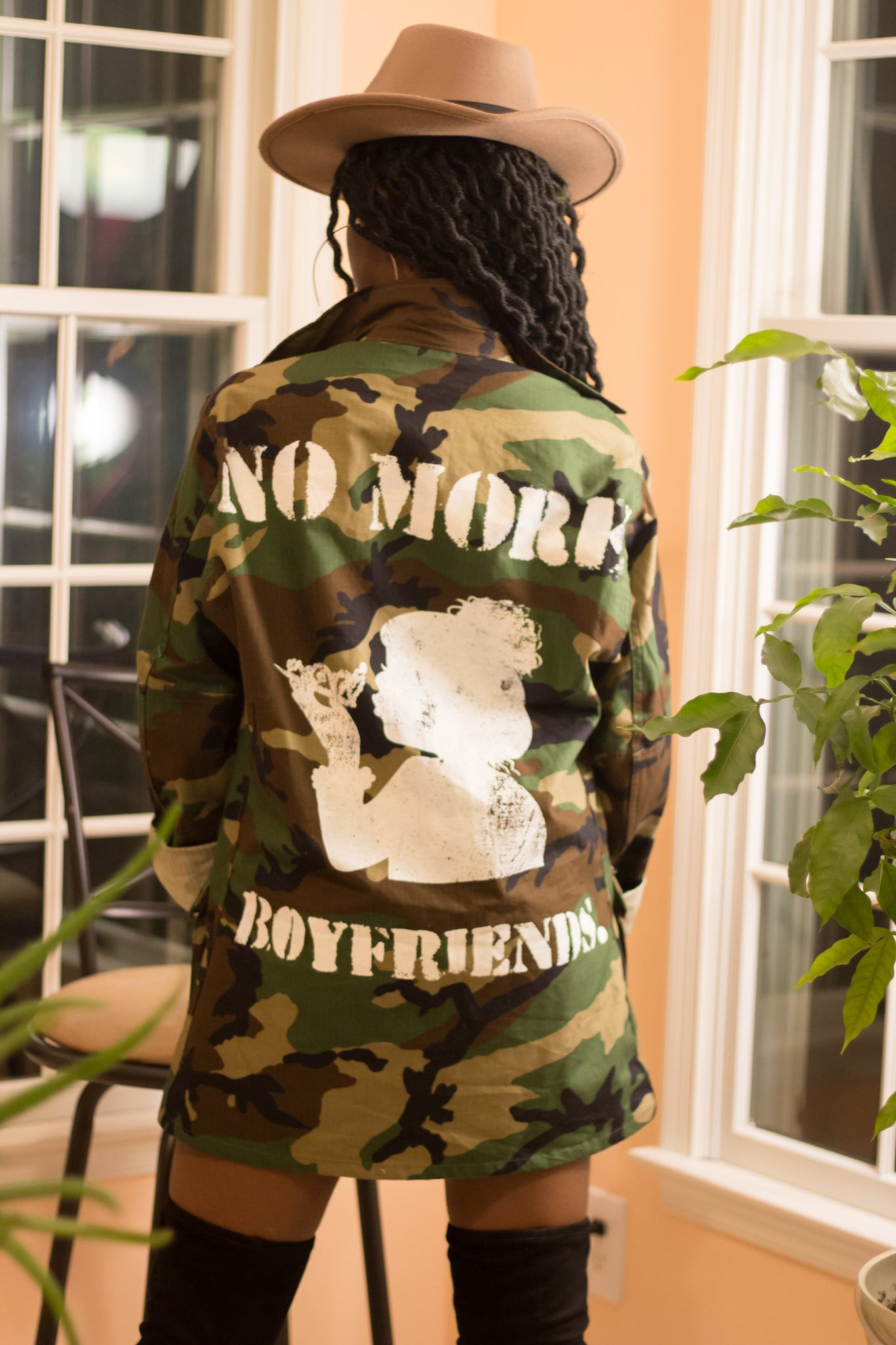 "Oversized ""No More Boyfriends"" Camo Jacket (Order One Size Smaller)"