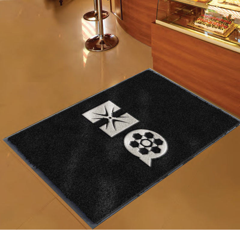 HQ w/logos 3 x 5 Flocked Olefin 2 Color - The Personalized Doormats Company