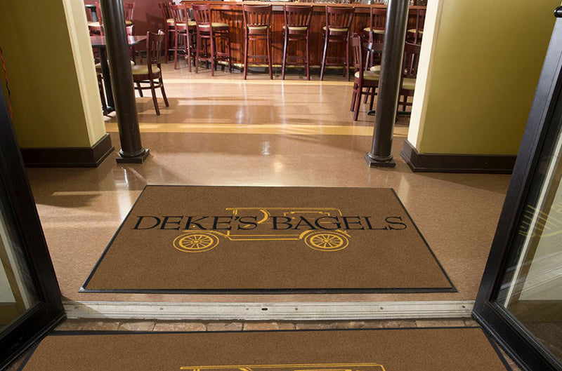 DEKE'S BAGELS 4 X 6 Rubber Backed Carpeted HD - The Personalized Doormats Company