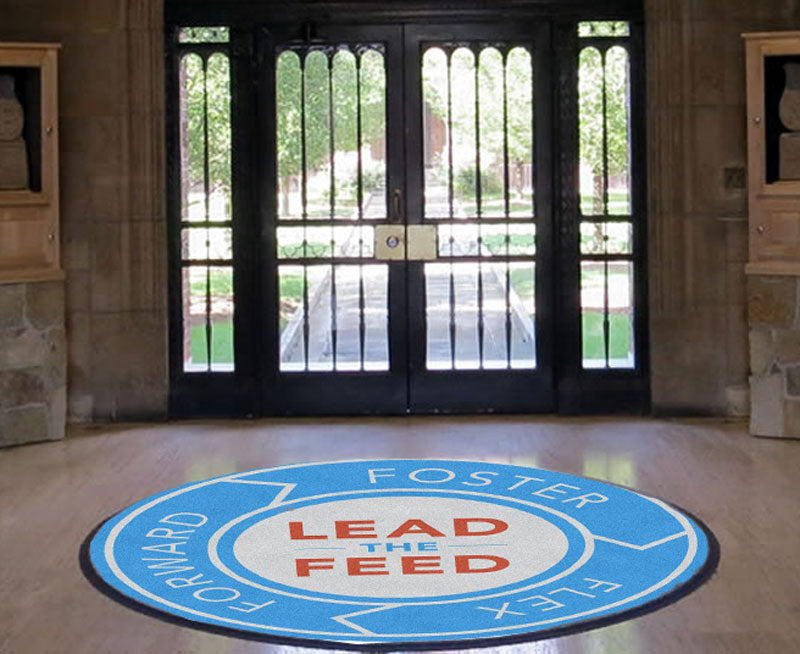 Indeed-Lead the Feed 6 X 6 Rubber Backed Carpeted HD Round - The Personalized Doormats Company