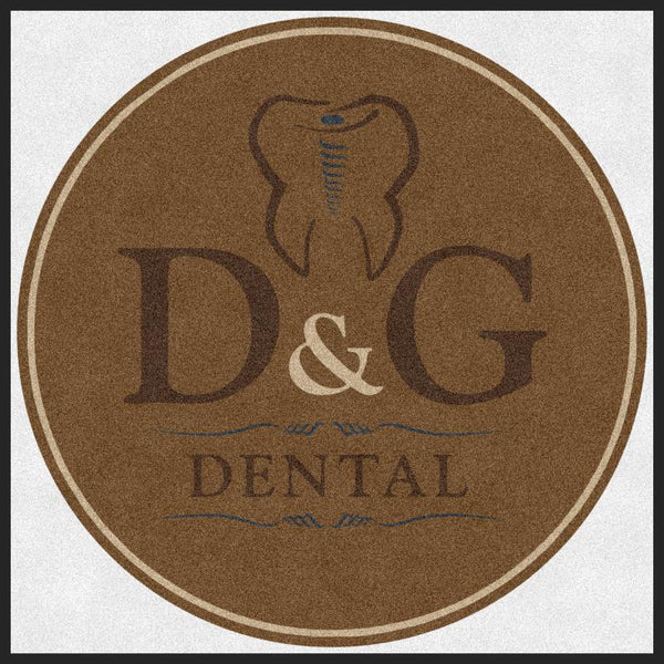 D&G Dental 4 X 4 Rubber Backed Carpeted HD Round - The Personalized Doormats Company