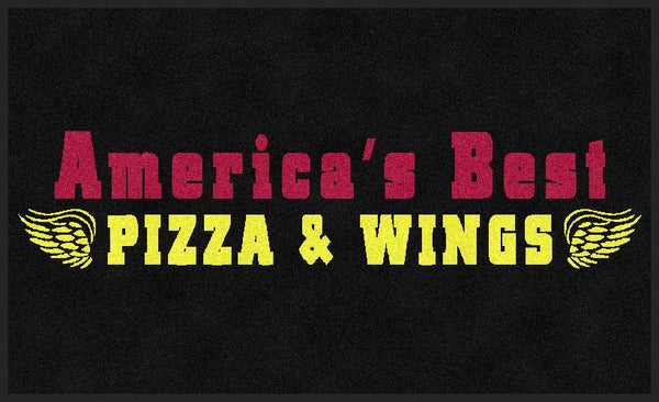 America's Best Pizza & Wings 3 X 5 Rubber Backed Carpeted HD - The Personalized Doormats Company