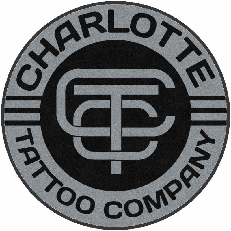 Charlotte Tattoo Company 5 X 5 Rubber Backed Carpeted HD Round - The Personalized Doormats Company