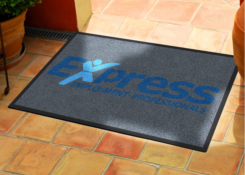 Express Employment Professionals 2 X 3 Rubber Backed Carpeted HD - The Personalized Doormats Company