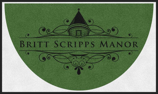 BRITT SCRIPPS MANOR (K9) 3 X 5 Rubber Backed Carpeted HD Half Round - The Personalized Doormats Company