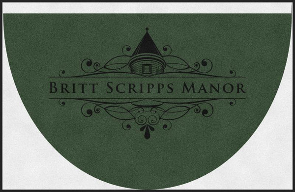 BRITT SCRIPPS MANOR (L6) 5.25 X 8 Rubber Backed Carpeted HD Half Round - The Personalized Doormats Company