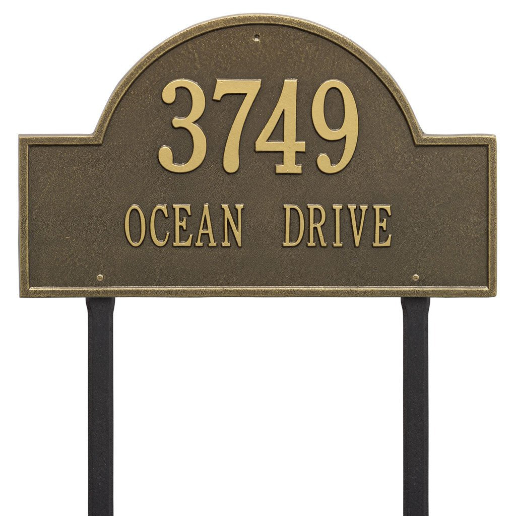 Arch Marker Estate Lawn Address Plaque Two Line Lawn Address Plaque - The Personalized Doormats Company