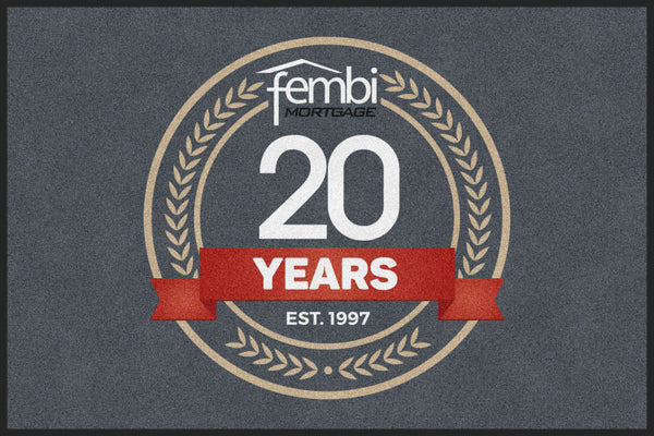 Fembi Mortgage with 20th Anniversary log 4 X 6 Rubber Backed Carpeted HD - The Personalized Doormats Company