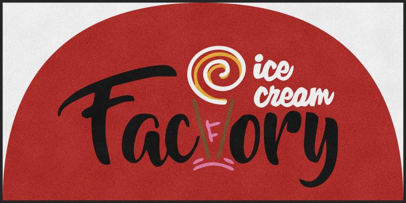 Ice Cream Factory 5 X 10 Rubber Backed Carpeted HD Half Round - The Personalized Doormats Company