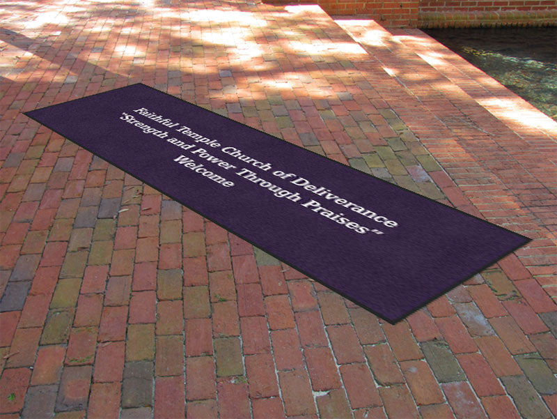 Faithful Temple Church of Deliverance 3 X 10 Rubber Backed Carpeted HD - The Personalized Doormats Company