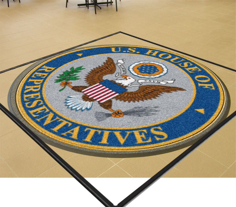 FL HOUSE 6 X 6 Rubber Backed Carpeted HD Round - The Personalized Doormats Company