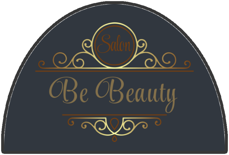 Be Beauty Salon 2 X 3 Rubber Backed Carpeted HD Half Round - The Personalized Doormats Company
