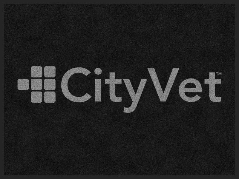 CityVet (gray logo) 4 X 6 Rubber Backed Carpeted - The Personalized Doormats Company