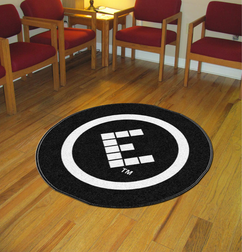 Effortless 4 X 4 Rubber Backed Carpeted HD Round - The Personalized Doormats Company
