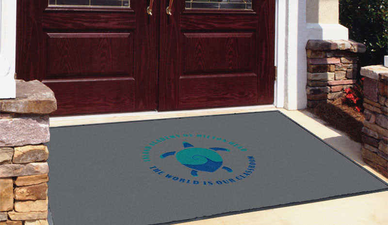Island Academy of Hilton Head 4 x 6 Flocked Olefin 2 Color - The Personalized Doormats Company
