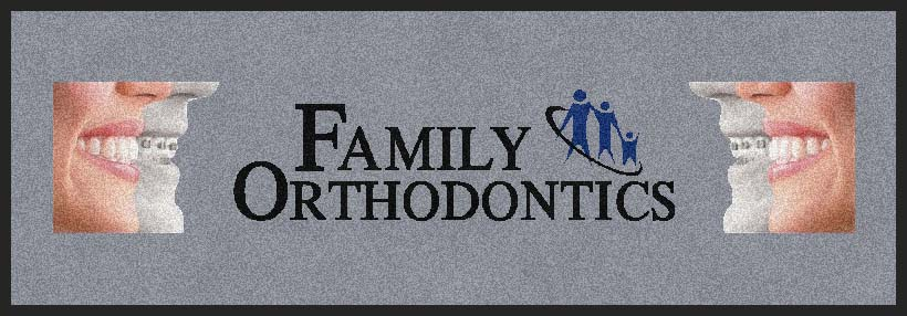 Family Orthodontics 2 X 5.83 Rubber Backed Carpeted HD - The Personalized Doormats Company