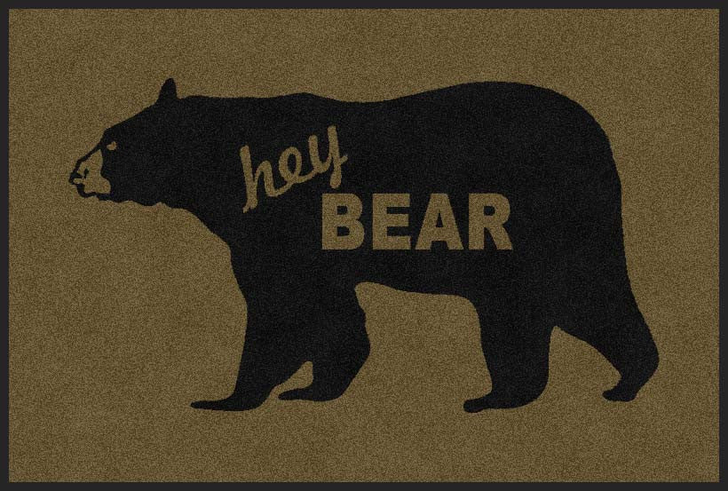 Hey Bear 2 X 3 Rubber Backed Carpeted HD - The Personalized Doormats Company