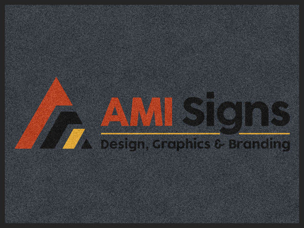 AMI Signs 3 x 4' Rubber Backed Carpeted HD - The Personalized Doormats Company