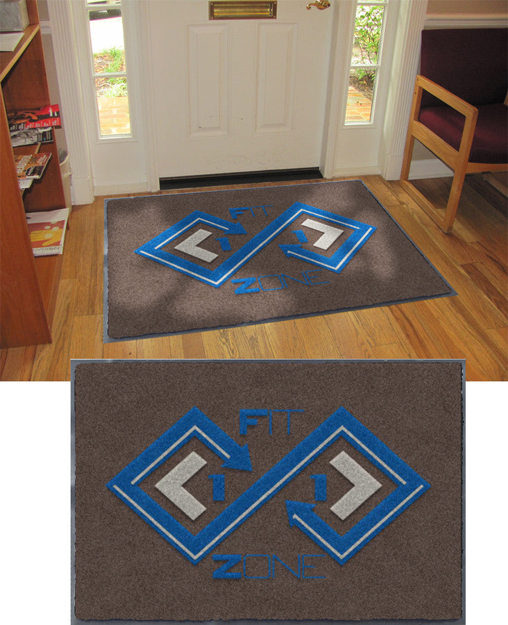 Fit Zone 11 3 x 4 Flocked Olefin 2 Color - The Personalized Doormats Company