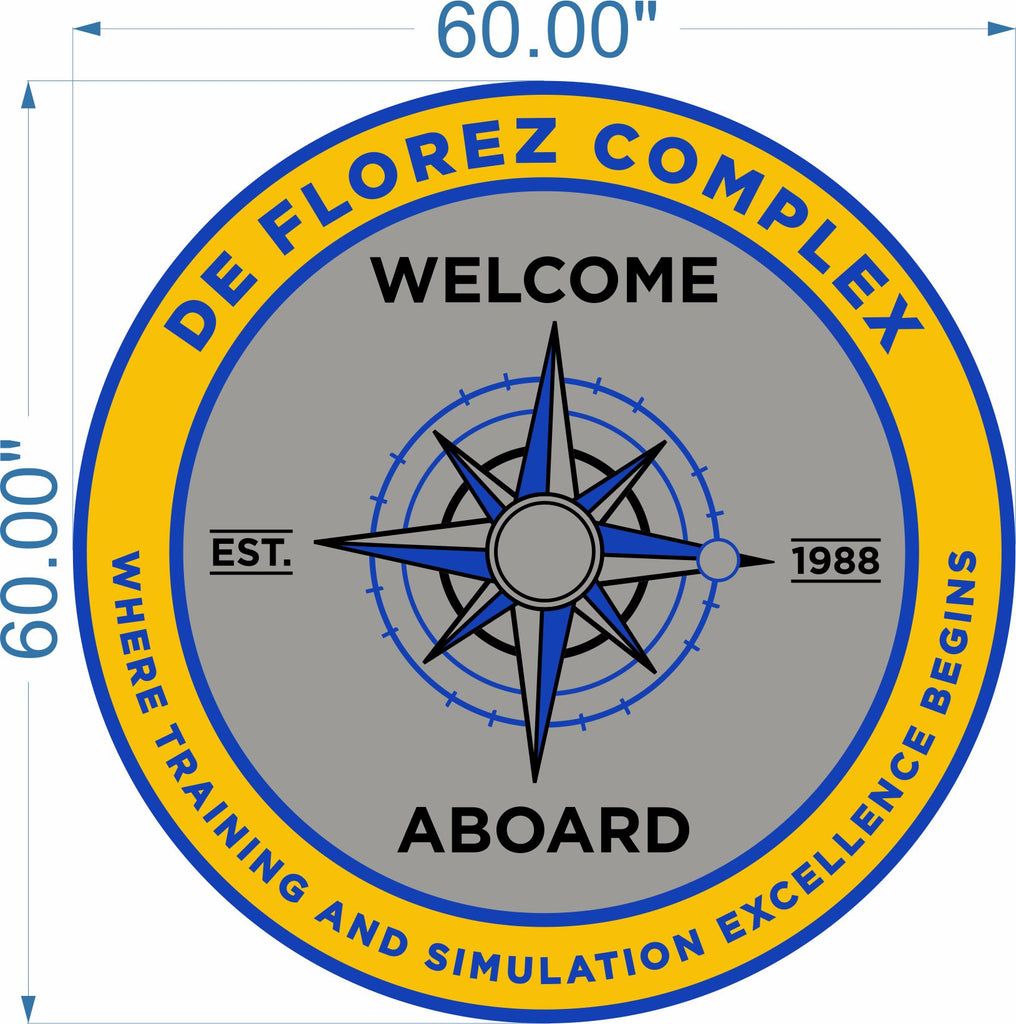 de Florez Welcome Aboard Mat (US Navy) 5 X 5 Luxury Berber Inlay - The Personalized Doormats Company