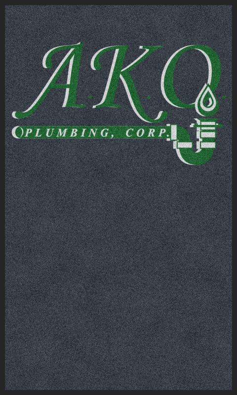 ako plumbing, corp 3 X 5 Rubber Backed Carpeted HD - The Personalized Doormats Company